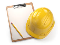 Hard hat with clipboard isolated on white background. Construction concept.