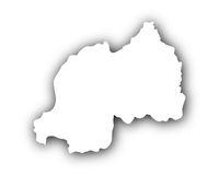 Karte von Ruanda mit Schatten - Map of Rwanda with shadow