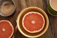 Halved fresh grapefruit served for breakfast