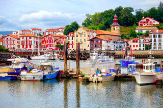Colorful basque houses in port of Saint-Jean-de-Luz, France