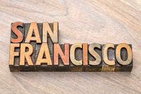 San Francisco in wood type