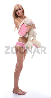 model with toy bunny