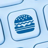 Hamburger Cheeseburger Fast Food essen online bestellen liefern blau Computer web