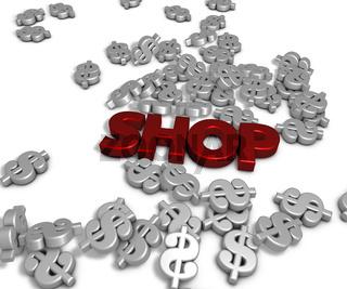 das wort shop und viele dollarzeichen - 3d rendering