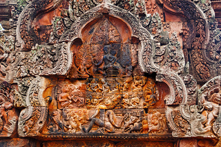 Carvings in Banteay Srei temple, Angkor, Cambodia. The citadel of women, this temple contains the finest, most intricate carvings to be found in Angkor
