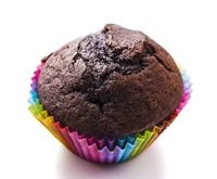 Chocolate Cupcake isolated on white background. Selective focus.