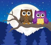 Stylized owls on branch theme image 6