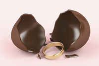Chocolate egg and engagement ring