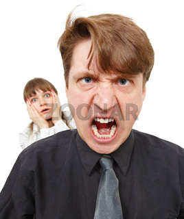 Man angry, he was furious. Woman in horror.