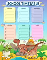 Weekly school timetable thematics 3 - picture illustration.
