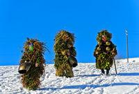 A group of Ugly St Sylvester mummers or Wueschte Chläuse, Urnäsch Silvesterkläuse procession