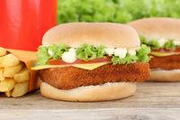 Fischburger Fisch Burger Backfisch Hamburger Menu Menü Menue Pommes Frites Getränk