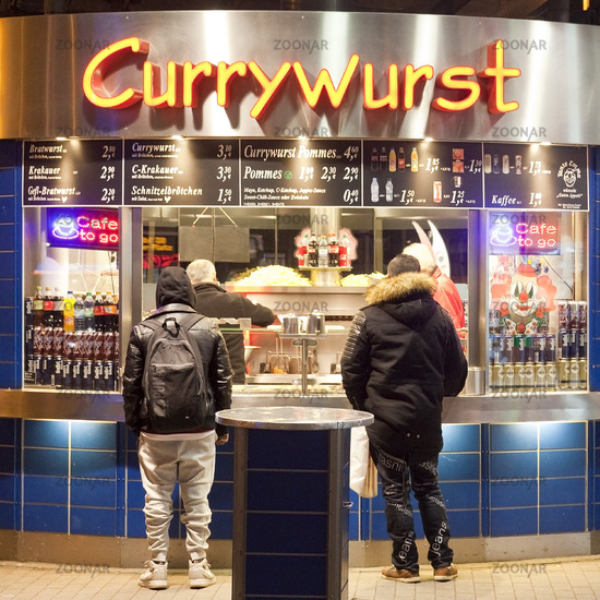 Currywurst snack at Central Station, Cologne, Rhineland, North Rhine-Westphalia, Germany, Europe