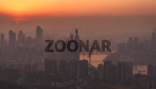 chongqing city skyline at sunset