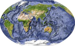 Weltkarte mit Meeresboden