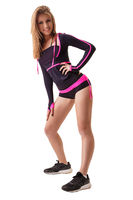 Blonde in violet and pink longlsleeve and shorts