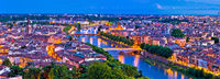 Verona old city and Adige river panoramic aerial view at evening