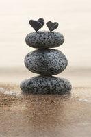 2 stone hearts symbolize the life
