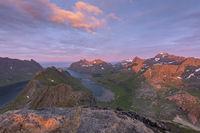 Evening mood, Kjerkfjorden and Bunesfjorden, Moskenesoeya, Lofoten, Norway