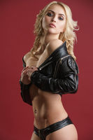 Gorgeous sexy longhaired blonde in leather jacket