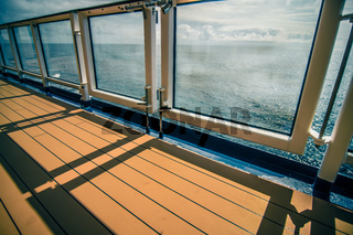 on deck of huge cruise liner ship from seattle to alaska