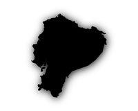 Karte von Ecuador mit Schatten - Map of Ecuador with shadow