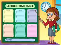Weekly school timetable concept 7 - picture illustration.