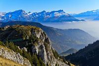Autumn mist wafting around the Grand Muveran massif and the Dents des Morcles peaks, Vaud