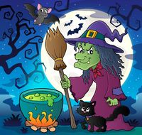 Witch with cat and broom theme image 2 - picture illustration.