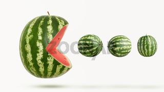 funny pacman watermelon