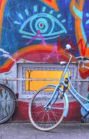 Bike, Old House Wall and window with Graffiti