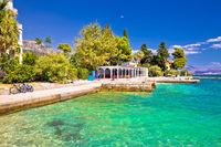 Idyllic turquoise beach in Kastela bay view