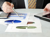 Businessman with charts