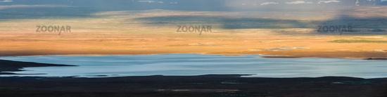 Panoramic view of Lake Sandvatn in Kjolur highland desert of Iceland.
