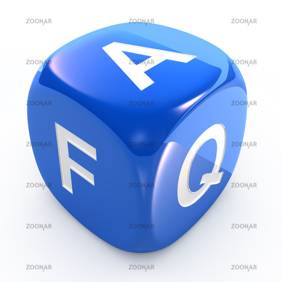 FAQ dice isolated on white