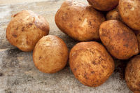 Close up on washed raw potatoes