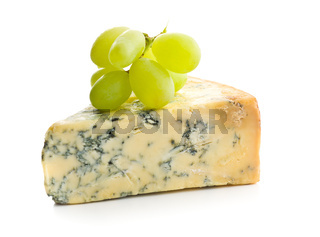 Tasty blue cheese and grapes.