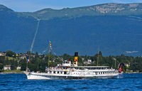 Paddle wheel steamer Simplon on Lake Geneva, Geneva, Switzerland
