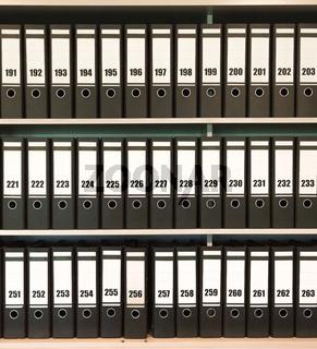Many folders in a closet