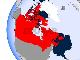 Map of Canada on political globe