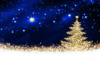 Golden Christmas tree and star sky.