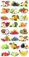 Früchte Apfel Orange Banane Orangen Erdbeere Birne Trauben frisch Frucht Obst Collage Freisteller