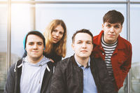 group portrait of young urban teenage friends