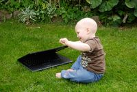 Little german boy with Laptop