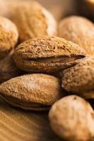 Heap of almond nuts in shell