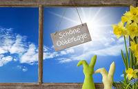 Window, Blue Sky, Schoene Ostertage Means Happy Easter