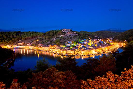 Novigrad Dalmatinski waterfront at evening view