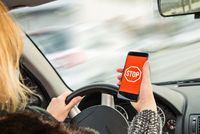 Danger by mobile phone at the wheel