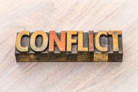 conflict word abstract in wood type