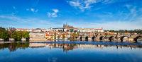 Charles bridge over Vltava river and Gradchany Prague Castle a